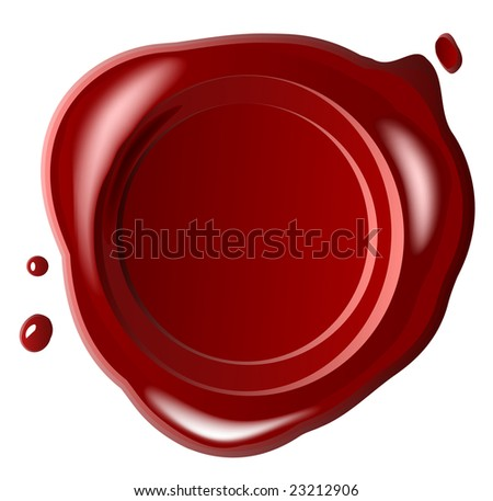Red wax seal with small drop (jpg) - stock photo