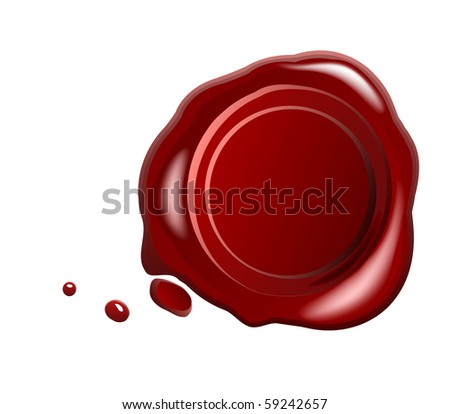 Red wax seal with small drops - stock photo