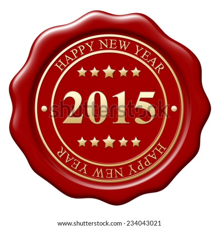 Red wax seal with text Happy New Year on white background
