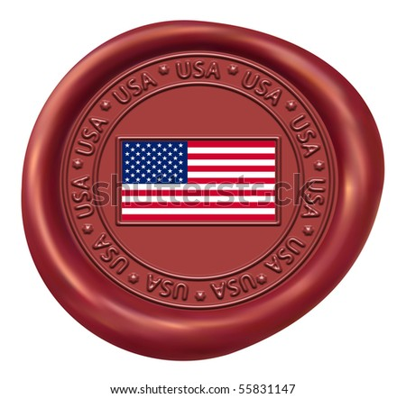 Red Wax Seal with USA Flag - stock photo