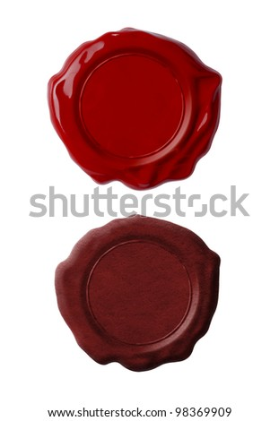 Red wax seals or signets set isolated on white - stock photo