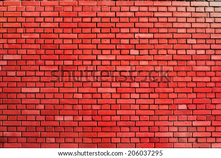 red weathered brick wall background - stock photo