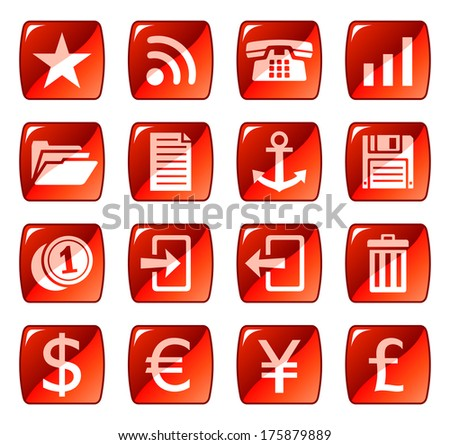 Red web icons. Raster version of EPS image 28615540 - stock photo
