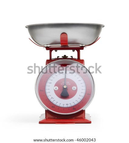 Red weight measuring scale with aluminium plate on white background - stock photo
