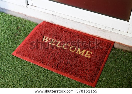red welcome carpet - stock photo