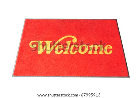 Red Welcome  Mat Isolated On White - stock photo