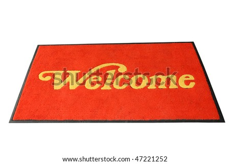 Red Welcome Mat Isolation - stock photo