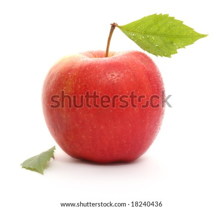 Red wet apple with leafs isolated on white