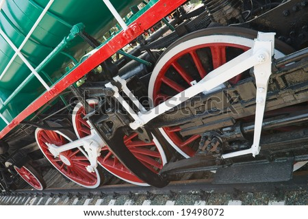 red wheels of steam locomotive