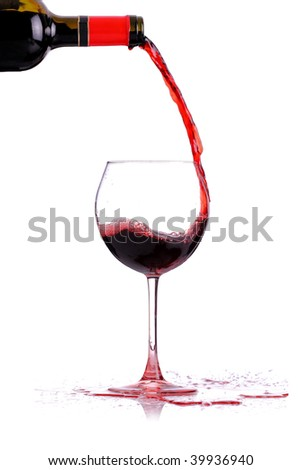 red whine pouring in a glass, isolated on white