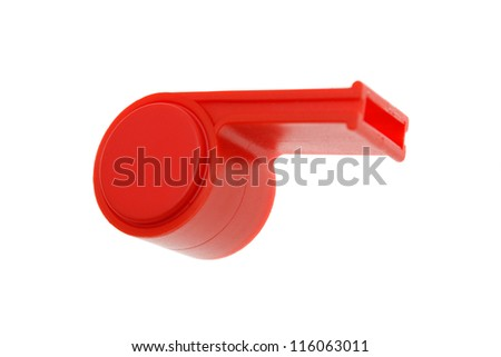 Red whistle. isolated on white - stock photo