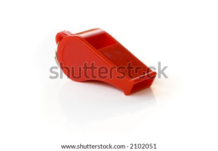 red whistle on white background - stock photo