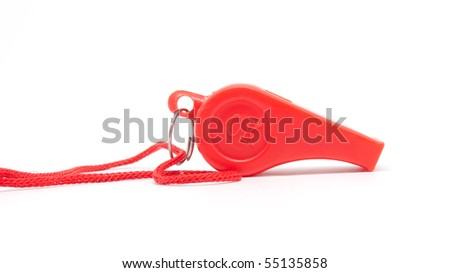 red whistle with a rope on a white background - stock photo