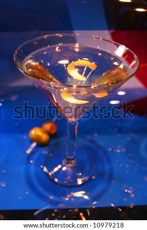 red white a blue martini with a twist - stock photo
