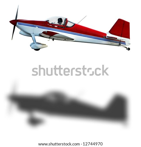 Red & white airplane [paths included] - stock photo