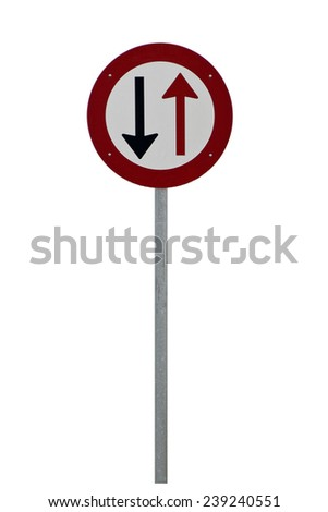 Red, white and black traffic sign on a steel pole. Isolated on white background