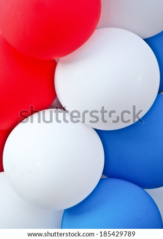 Red, white and blue balloons vertical - stock photo