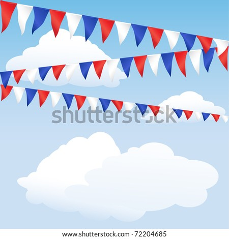Red white and blue bunting. English or USA colours, suitable for 4th of July or Royal Wedding background. Space for text. Also available in vector format. - stock photo