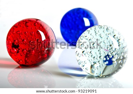 red, white and blue crystal ball - stock photo