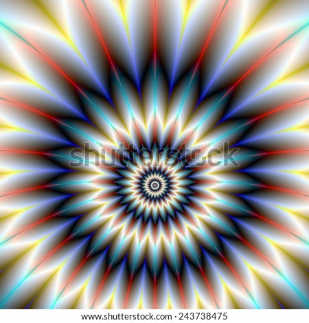 Red White and Blue Flower / A digital abstract fractal image with a star flower design in red, white and blue. - stock photo