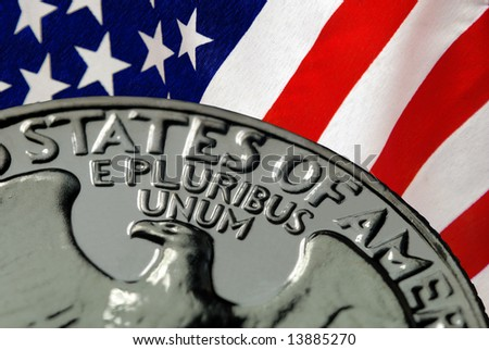 Red, White, and Blue From American Flag and United States of America on Vintage, Retro, 1967 United States Quarter - stock photo