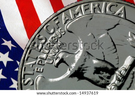 Red, White, and Blue From American Flag Reflected in E Pluribus Unum Motto on Vintage, Retro, 1967 United States Quarter
