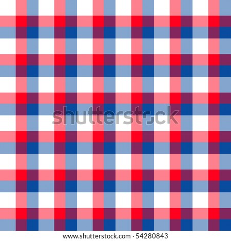 Red white and blue gingham plaid seamless tile background emulates fabric.