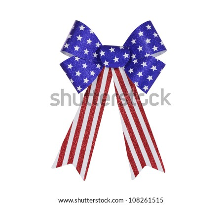 Red, white and blue glitter bunting bow isolated with clipping path. - stock photo