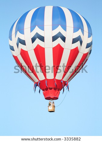 Red, White, and Blue Hot Air Balloon - stock photo