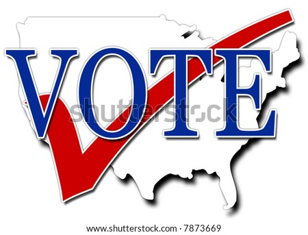 Red White and blue illustration encouraging people to vote - stock photo