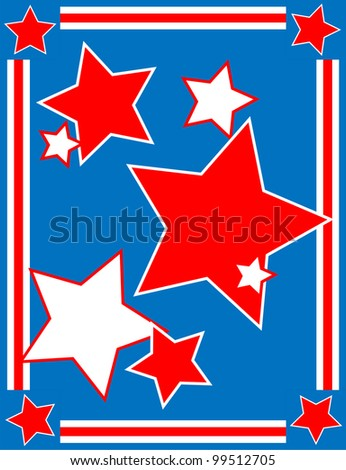 Red, White and blue patriotic star background with a striped border.