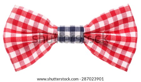 Red white and blue plaid bow tie - stock photo