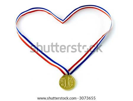 Red, white and blue ribbon hold a gold medal.Heart shape. Isolated. - stock photo