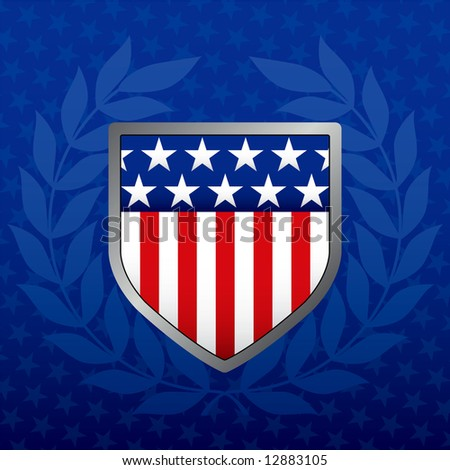 Red White and Blue Shield on a Star Background - stock photo