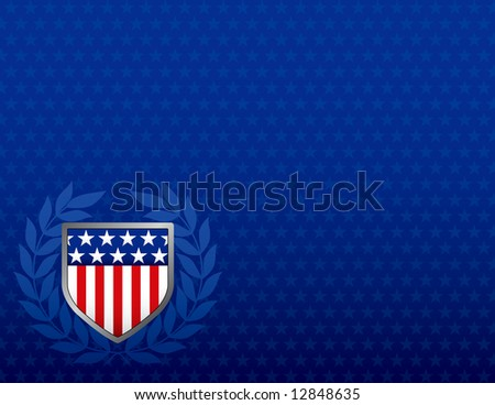 Red White and Blue Shield on a Star Background with plenty of space for text - stock photo