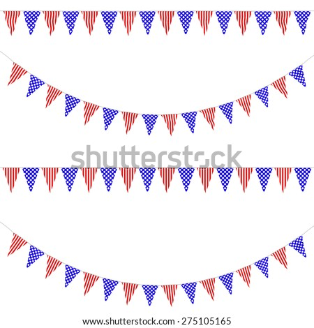 Red, White and Blue Spots and Stripes Bunting Collection: 3D reflection and flat orthographic textures - stock photo