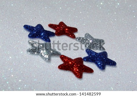 Red white and blue stars - stock photo