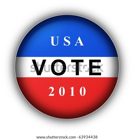 Red white and blue vote button for 2010 - stock photo