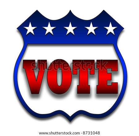 Red White and Blue voting illustration - stock photo