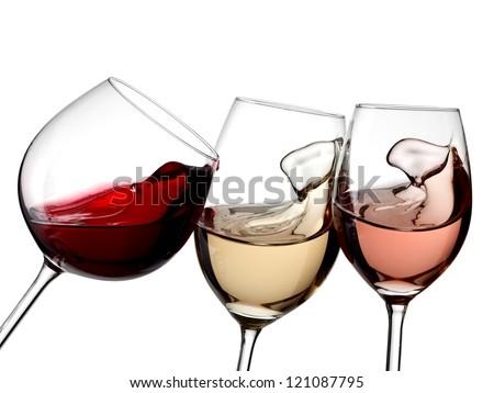Red, white and rose wine plash - stock photo