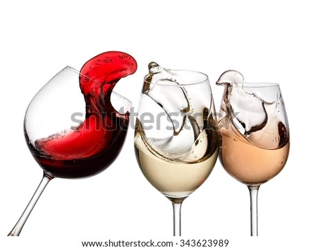 Red, white and rose wine plash - stock photo