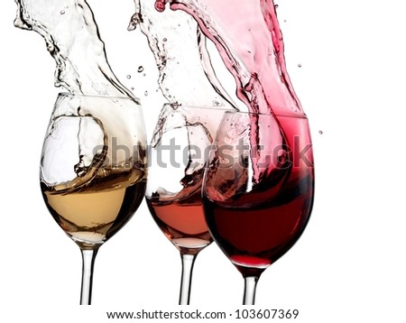 Red, white and rose wine up - stock photo