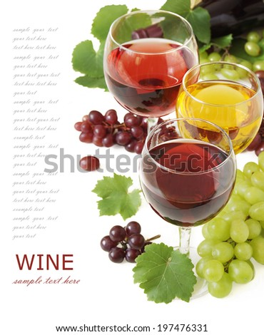 Red, white and rosy wine and grapes with fresh leaves isolated on white background with sample text - stock photo