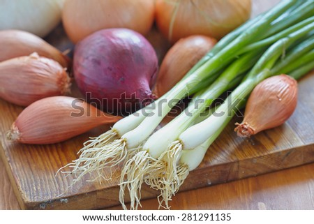 Red, white and yellow onions on rustic wooden background