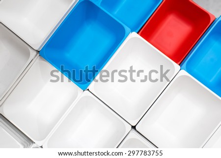 Red White Blue Plastic Containers - stock photo