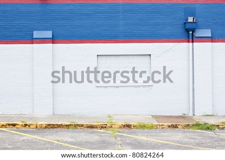 red white blue wall background - stock photo
