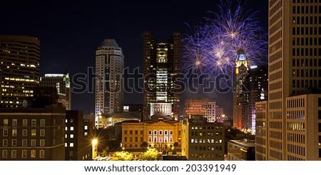 Red, White & Boom light the Columbus, Ohio skyline. - stock photo