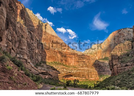 Red White Canyon Walls  Zion Canyon