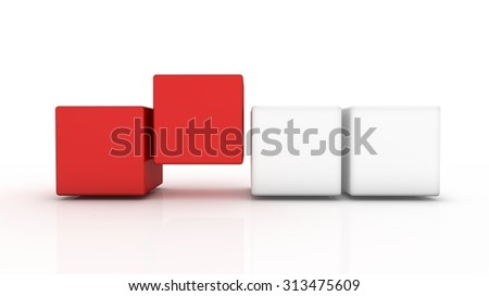 red-white cubes row - stock photo