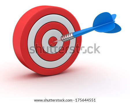 Red-white dartboard with blue dart in the target - stock photo